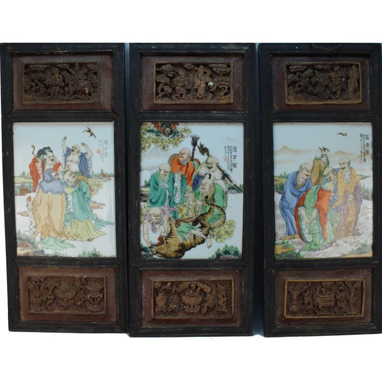 Rare Antique Chinese Porcelain/Wood Carved Panels