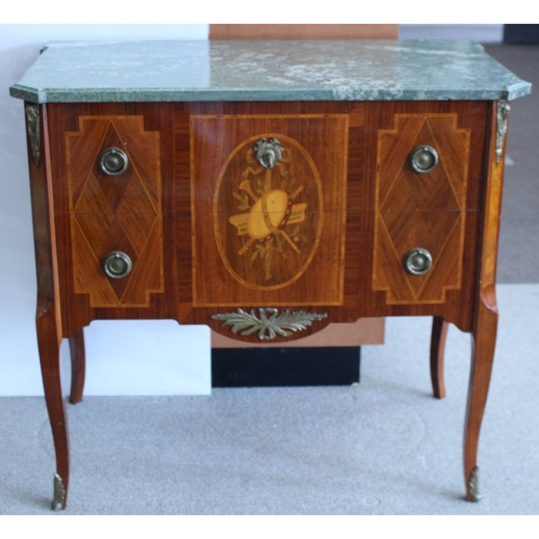 Antique Inlaid French Bronze Mounted Commode