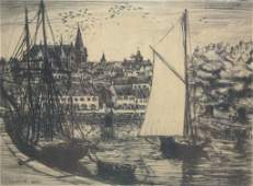 """French 20th C. Etching  """"Porte de Vanves"""""""