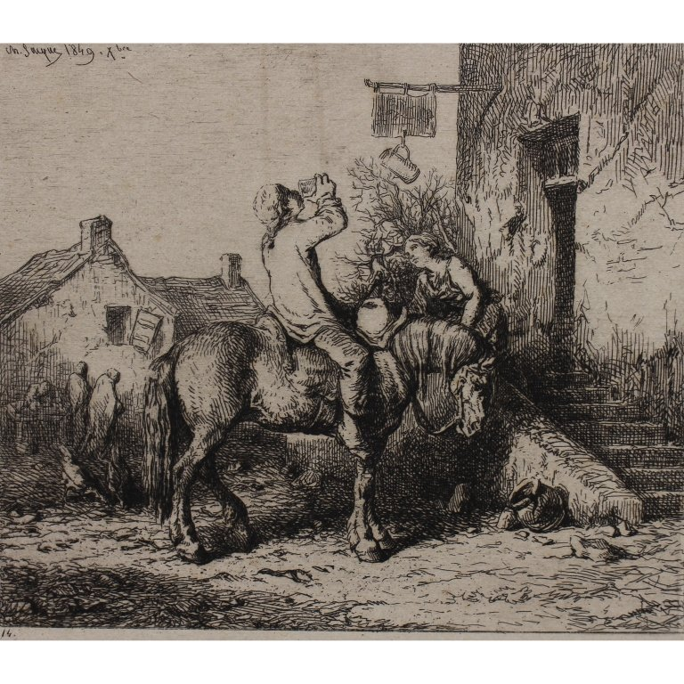 Charles Emile Jacque  (1813 - 1894) Etching
