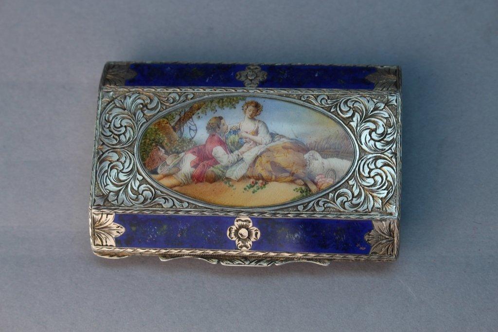 European .800 Guilloche Enameled Silver Box