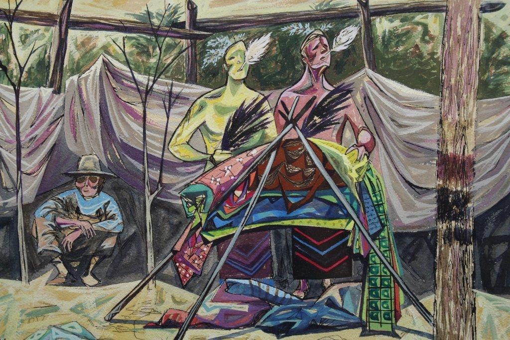 Edward Chavez (1917-1995) Watercolor/Ink