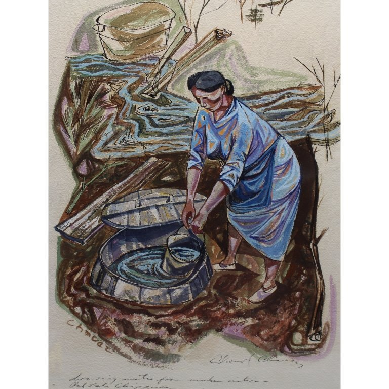 """Edward Chavez (1917-1995) """"Creekside Barrels"""""""