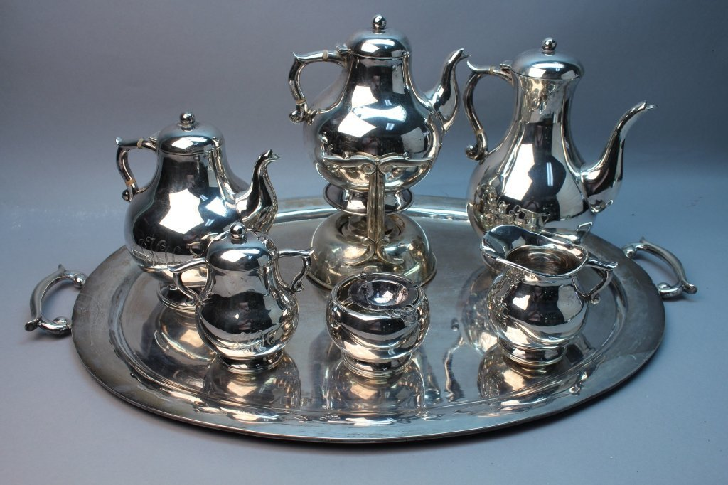8 Pc. Mexican Sterling Silver Tea Set w/ Tray