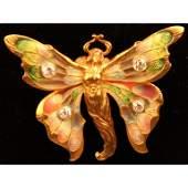 18k Gold Art Nouveau Diamond Enameled Pin