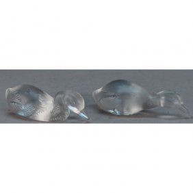 (2) French Baccarat Frosted Crystal Ducks