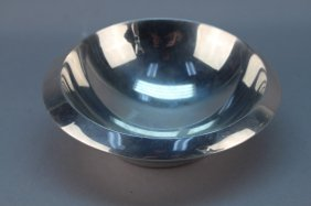 Signed Modern 20th C. Silverplate Nut Dish