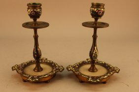 Pair Of French Champleve Bronze Candlesticks