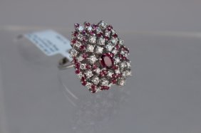 14kt White Gold Diamond & Ruby Cluster Ring
