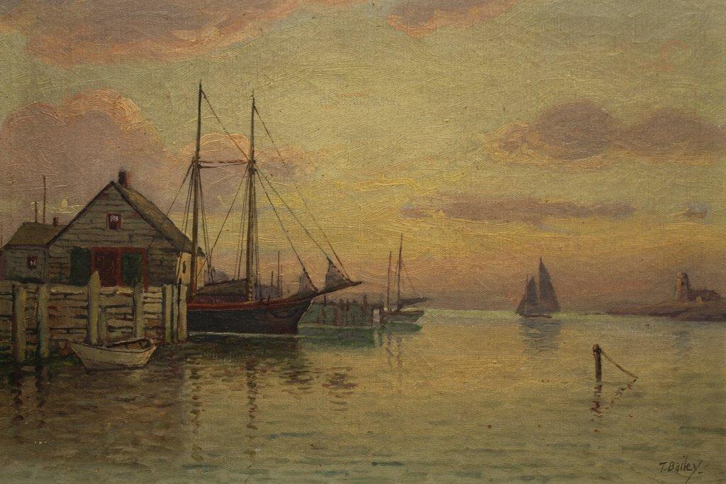 T Bailey  (19/20th C.) Luminist Harbor