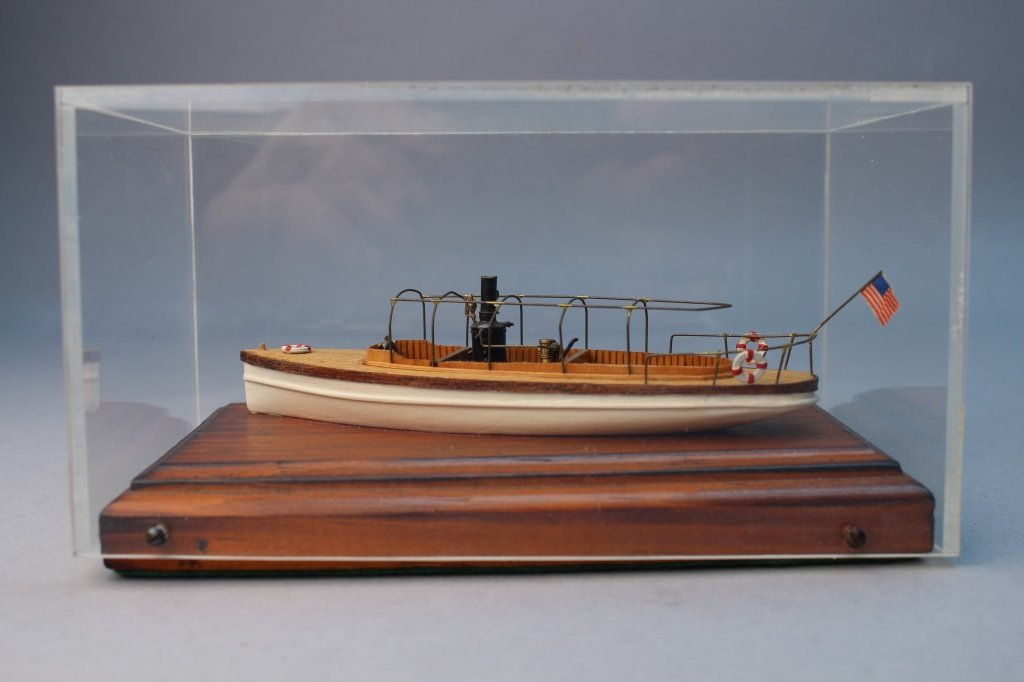 Steam Launch Model, Cased on Wood Base