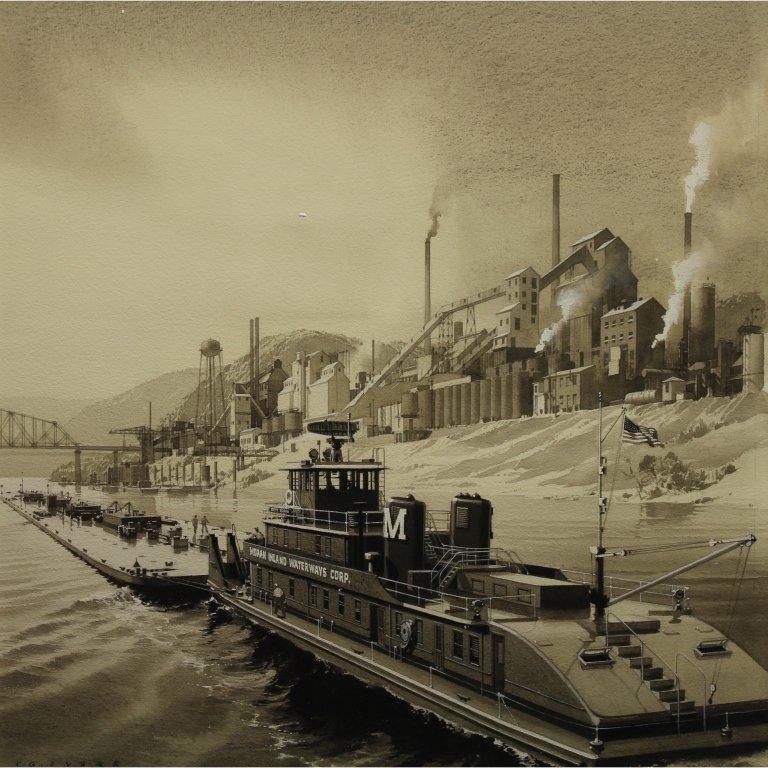 Carl Evers  (1907 - 2000) Tugboat Watercolor