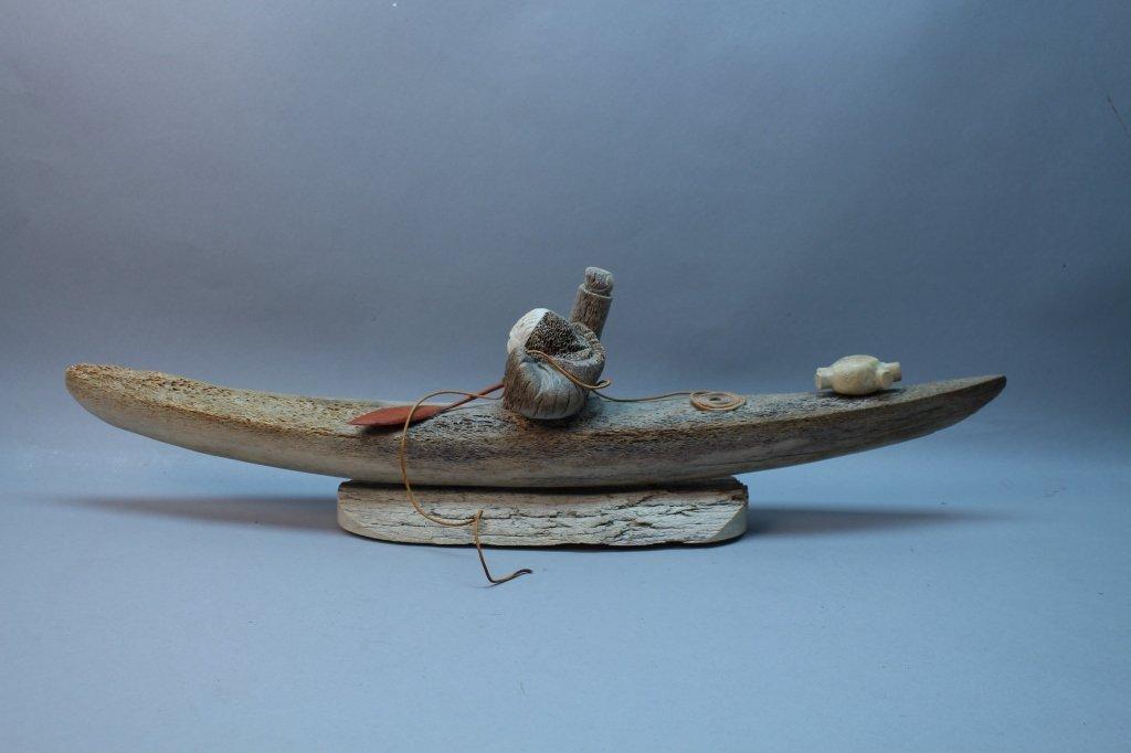 Large Inuit Eskimo Whale Bone Kayak w/ Hunter
