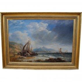 """Large John Carmichael (1800-1868) """"fishermen""""o/c"""