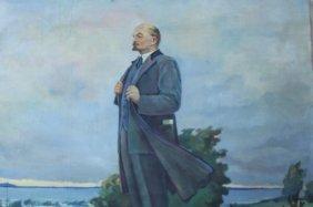 Signed Unframed Russian School Painting Of Lenin