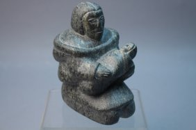 Signed 20th C. Carved Stone Inuit W/ Child