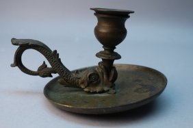 Antique Bronze Chamber Stick, Fish Form
