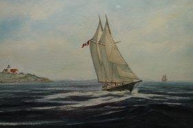 20th C. E. Johnson Signed Coastal Watercolor