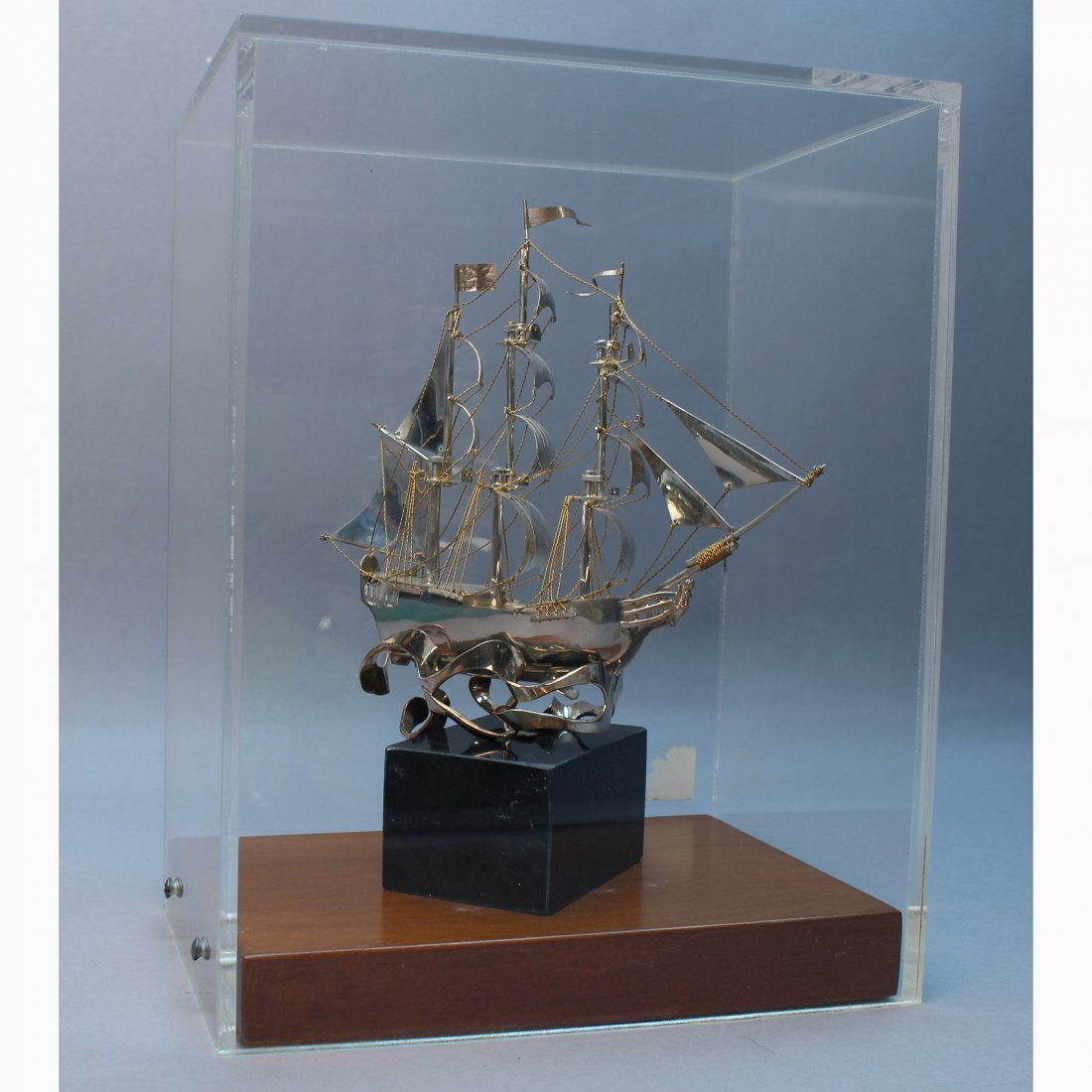 Signed Cartier Sterling Silver Galleon Ship