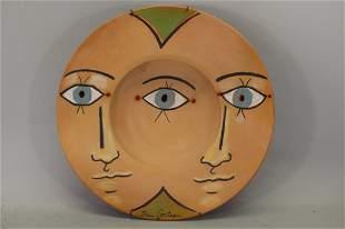 """Jean Cocteau (1889-1963) """"Les Troix Yeux"""" Ceramic"""