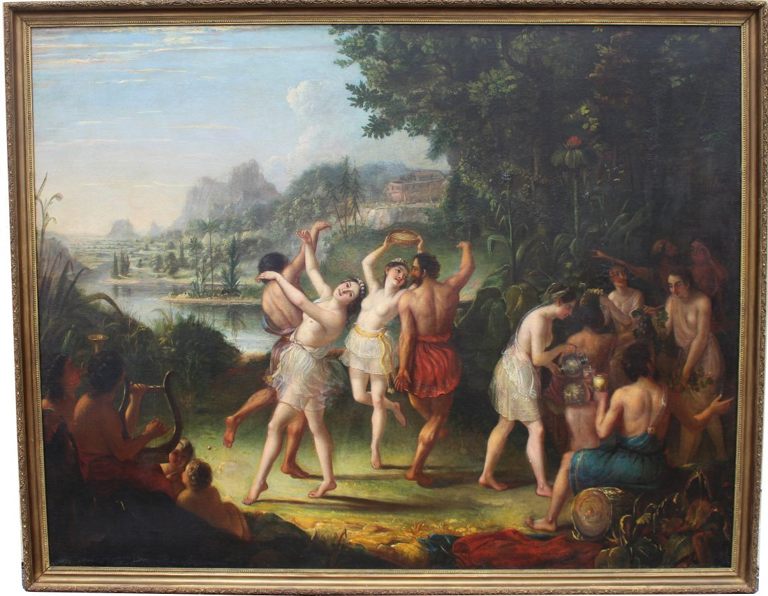 "Large 18th C. Old Master Painting ""Peace Festival"""