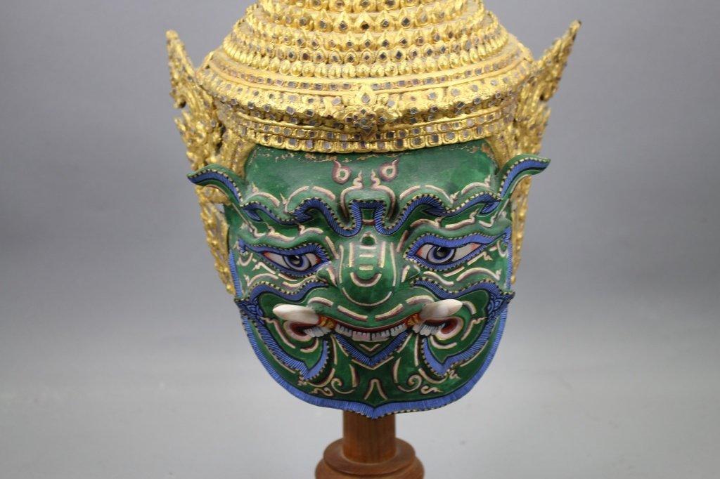 20th C. Thai Khon Mask on Stand - 2