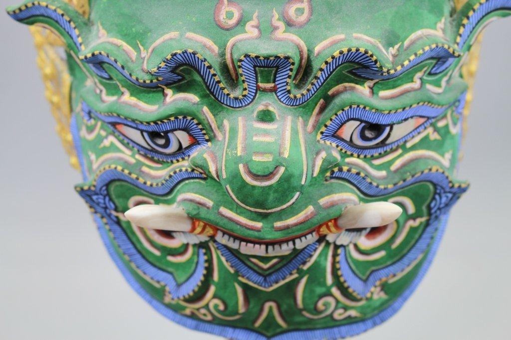 20th C. Thai Khon Mask on Stand - 6