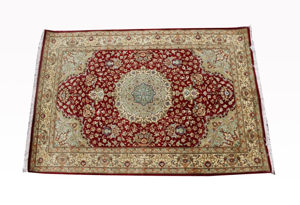 Signed 20th C. Persian Silk Qum Rug