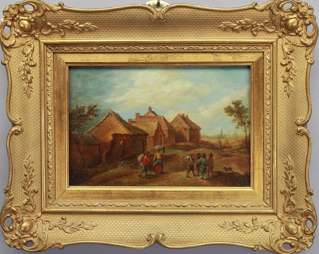 19th C. European Village w/ figures Oil/Board