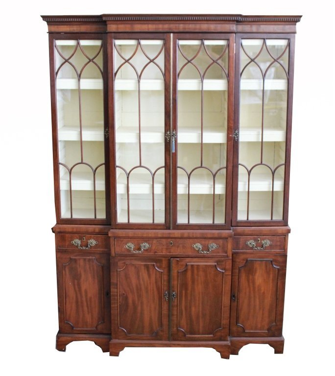 19th C. English Mahogany Breakfront