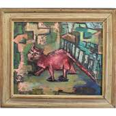 Signed Oil/Canvas, Animal in abstract landscape