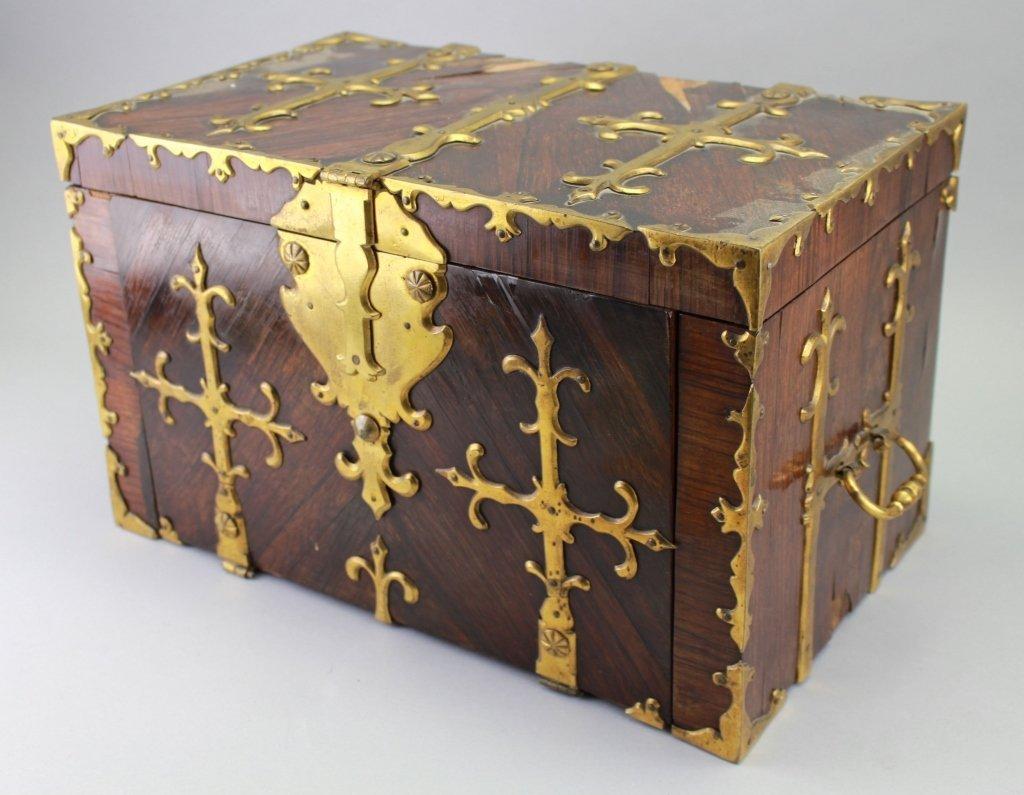 Early 18th C. Brass Bound Walnut Money Chest
