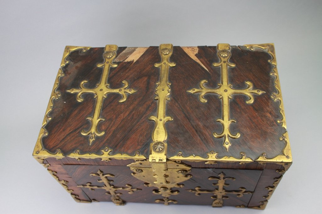 Early 18th C. Brass Bound Walnut Money Chest - 3