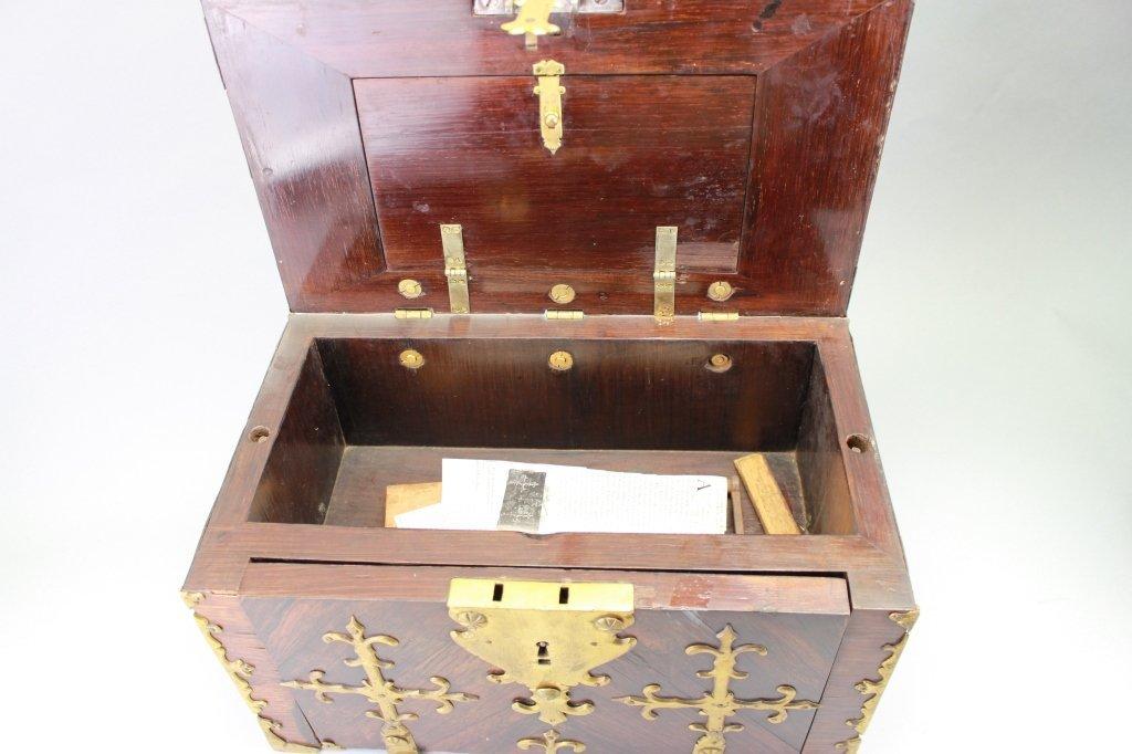 Early 18th C. Brass Bound Walnut Money Chest - 4