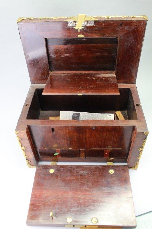 Early 18th C. Brass Bound Walnut Money Chest - 5