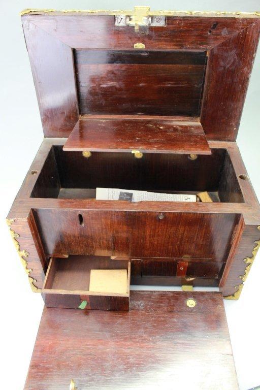 Early 18th C. Brass Bound Walnut Money Chest - 6