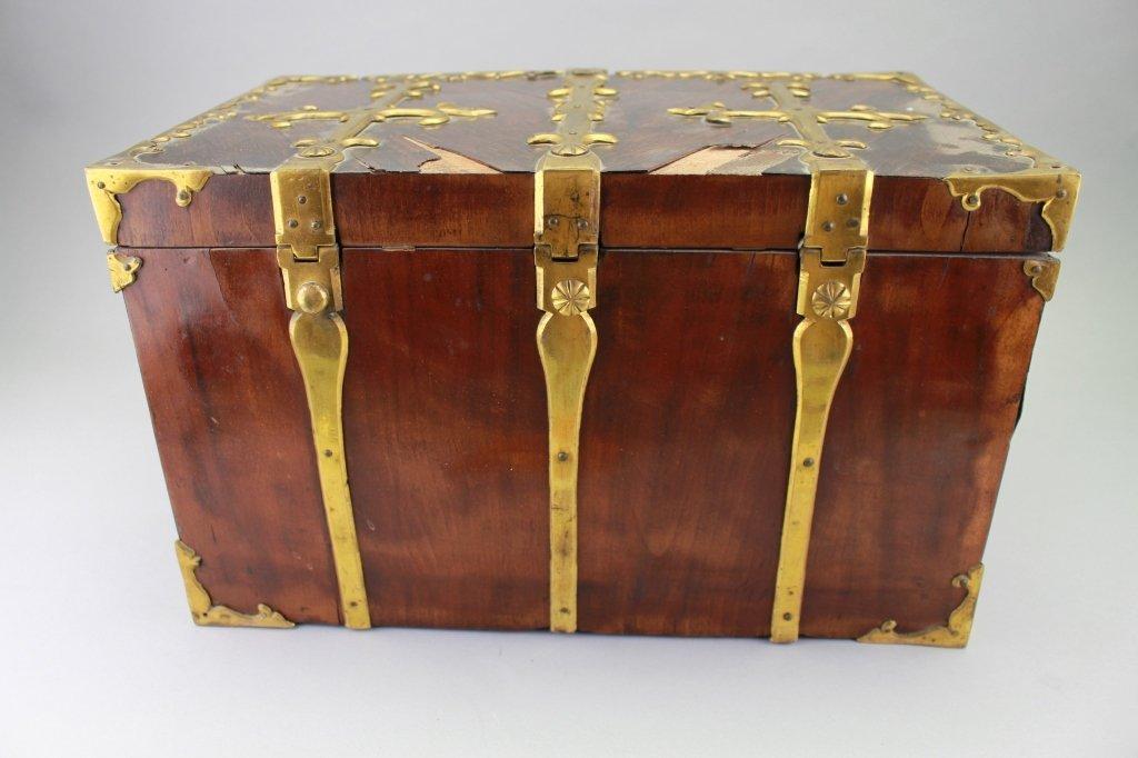 Early 18th C. Brass Bound Walnut Money Chest - 7