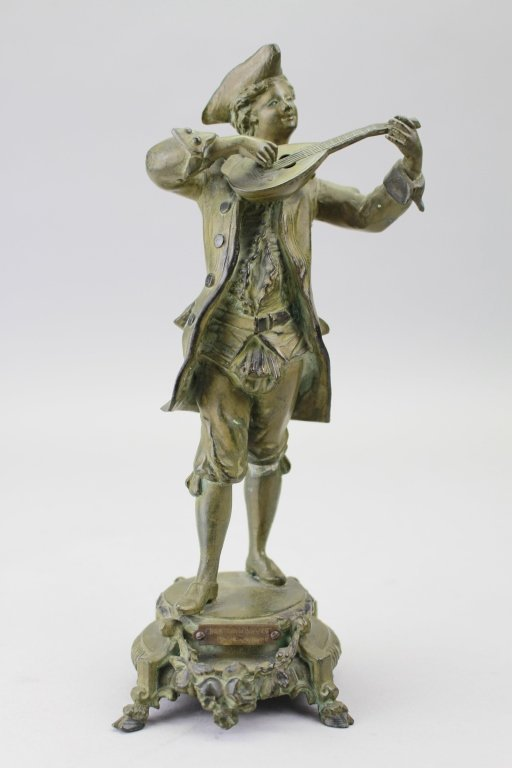 Antique French Bronze Musician Figure