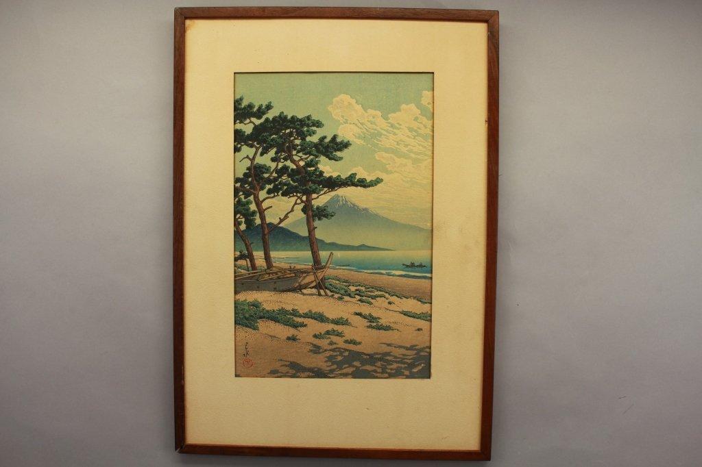Antique Japanese Woodblock, Fuji from Mito - 4