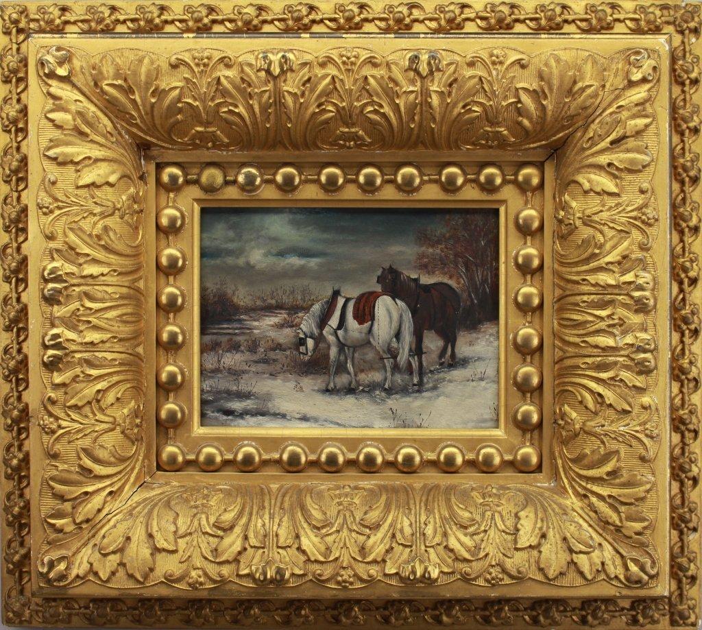 American School 19th C. Winter Landscape w/ Horses
