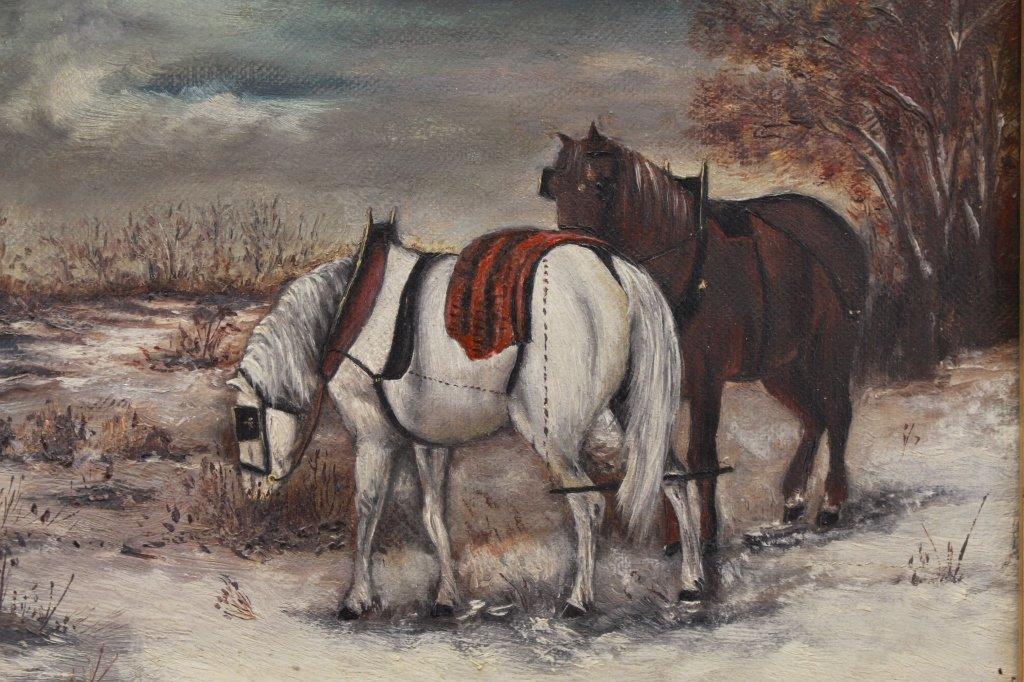 American School 19th C. Winter Landscape w/ Horses - 2