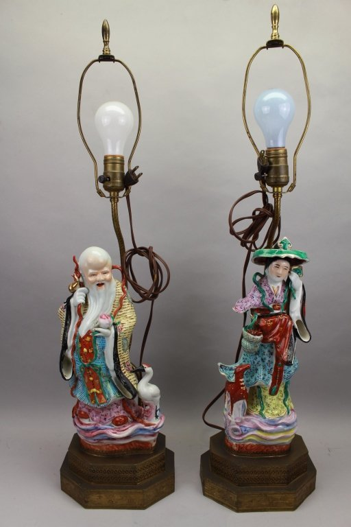 Pair Chinese Figural 20th C. Lamps
