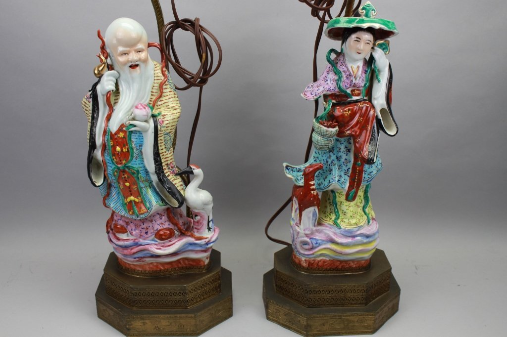 Pair Chinese Figural 20th C. Lamps - 2