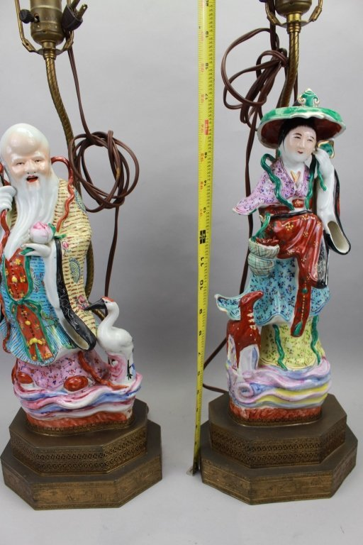 Pair Chinese Figural 20th C. Lamps - 3