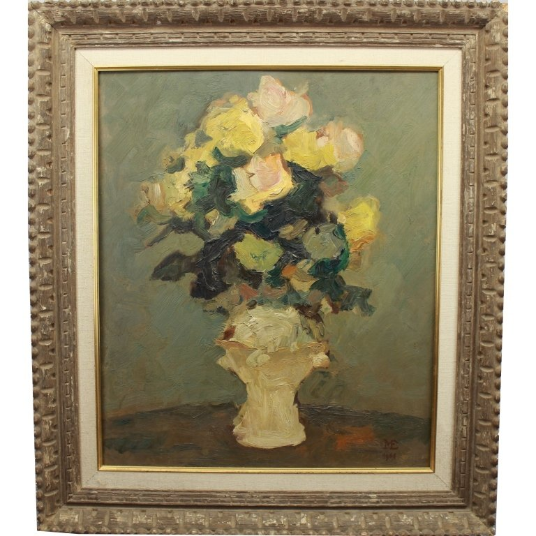 1944 Monogrammed Oil/Board Still Life