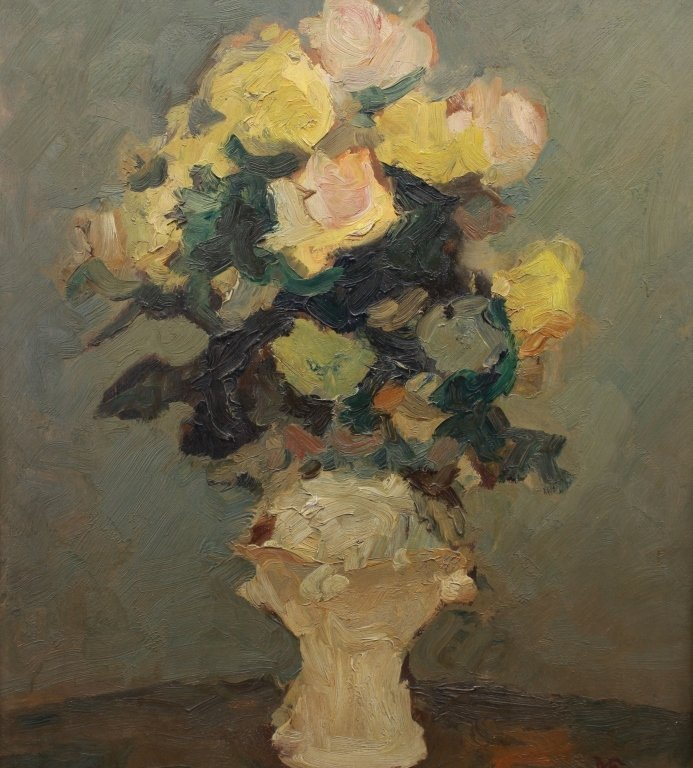 1944 Monogrammed Oil/Board Still Life - 2