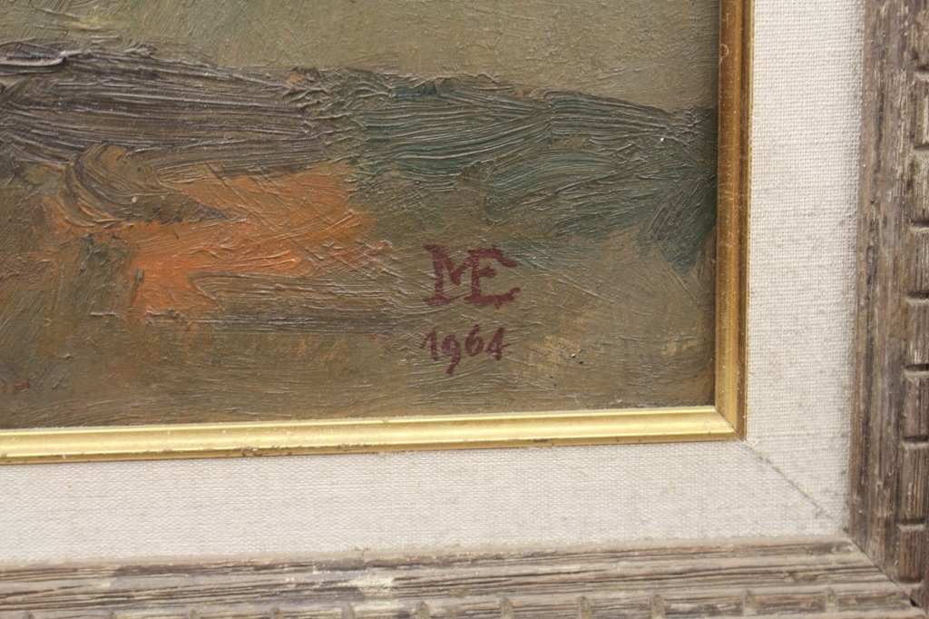 1944 Monogrammed Oil/Board Still Life - 3