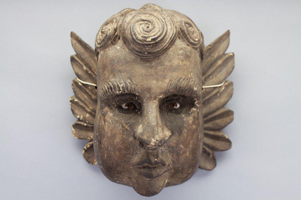 Early Carved Cherub Bust w/ Glass Eyes