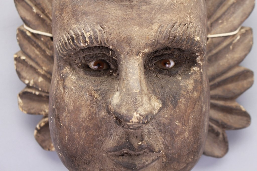 Early Carved Cherub Bust w/ Glass Eyes - 2