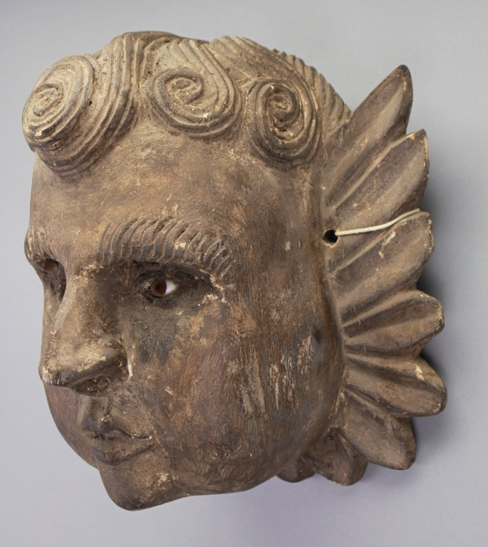 Early Carved Cherub Bust w/ Glass Eyes - 3